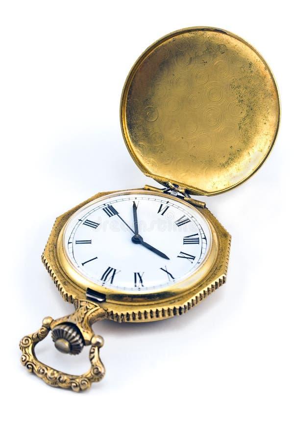 Παλαιό χρυσό ρολόι τσεπών στοκ φωτογραφίες