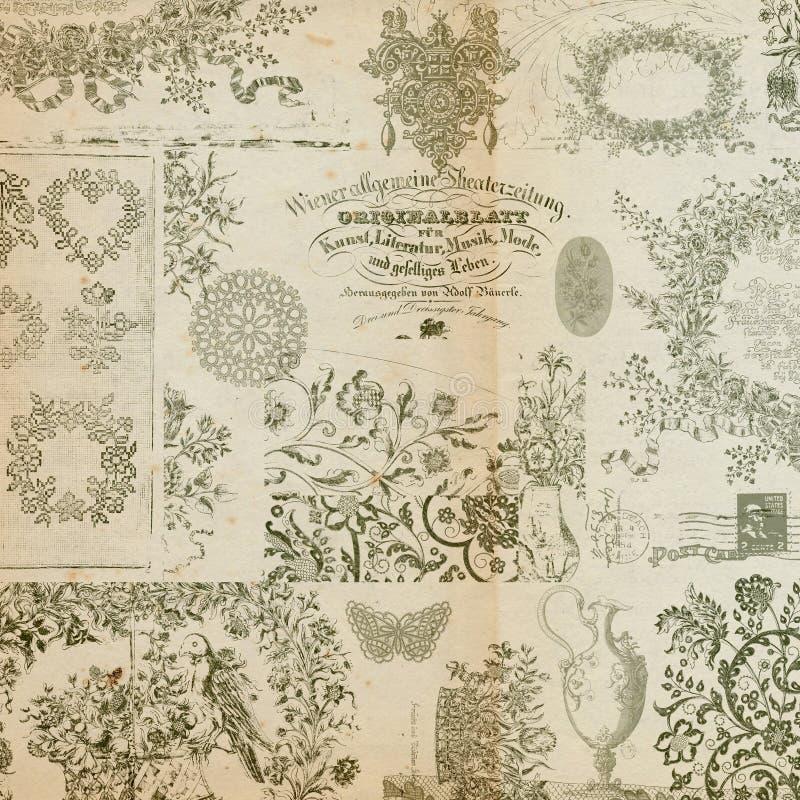 παλαιό floral montage κολάζ ανασκόπησ στοκ φωτογραφία με δικαίωμα ελεύθερης χρήσης