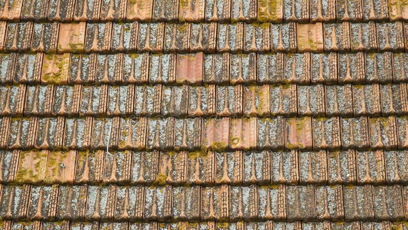 Παλαιό mossy κόκκινο υπόβαθρο κεραμιδιών στεγών στοκ εικόνες με δικαίωμα ελεύθερης χρήσης