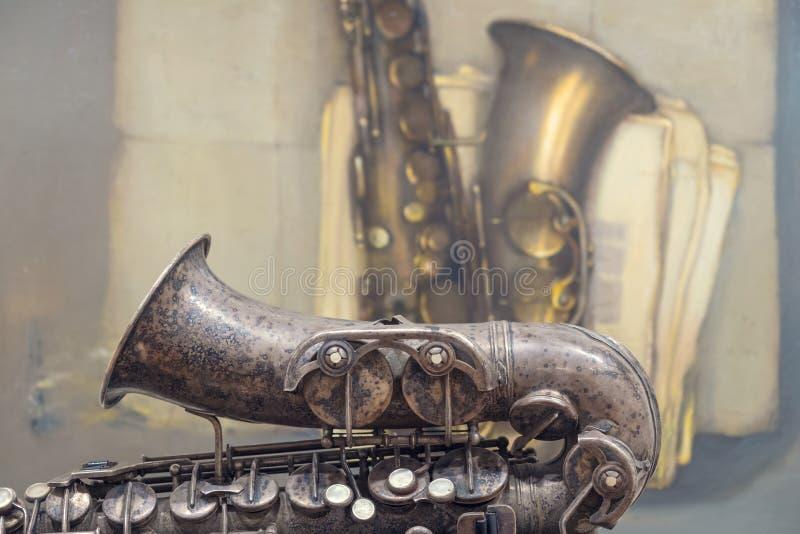 παλαιό saxophone στοκ φωτογραφίες