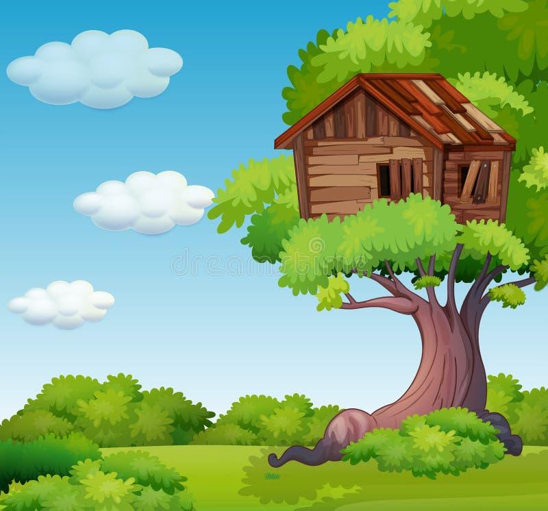 Παλαιό treehouse στο δέντρο διανυσματική απεικόνιση
