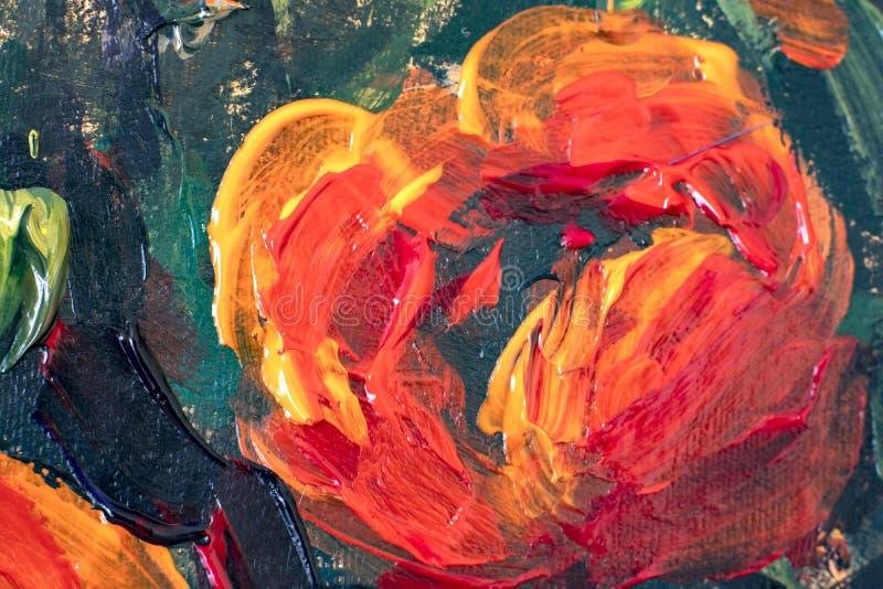 Παλετών μαχαιριών αφηρημένο μακρο υπόβαθρο κινηματογραφήσεων σε πρώτο πλάνο ελαιογραφίας λουλουδιών παπαρουνών σύστασης κόκκινο διανυσματική απεικόνιση
