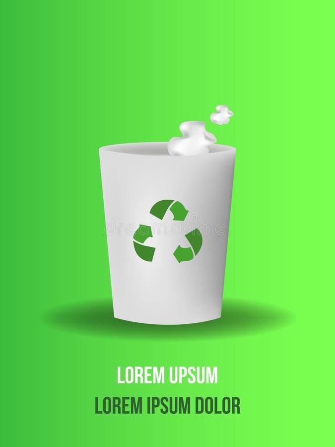 Παλιοπράγματα, wastepaper στα σκουπίδια που απομονώνονται στο πράσινο υπόβαθρο, διανυσματική απεικόνιση διανυσματική απεικόνιση