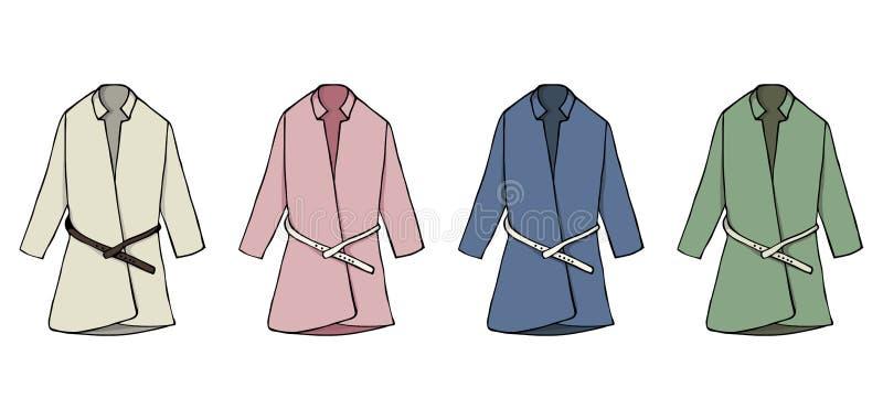 Παλτό απεικόνισης μόδας συλλογής Καθορισμένο μοντέρνο διανυσματικό σχέδιο ενός θηλυκού παλτού Εποχιακά ενδύματα φθινοπώρου απεικόνιση αποθεμάτων