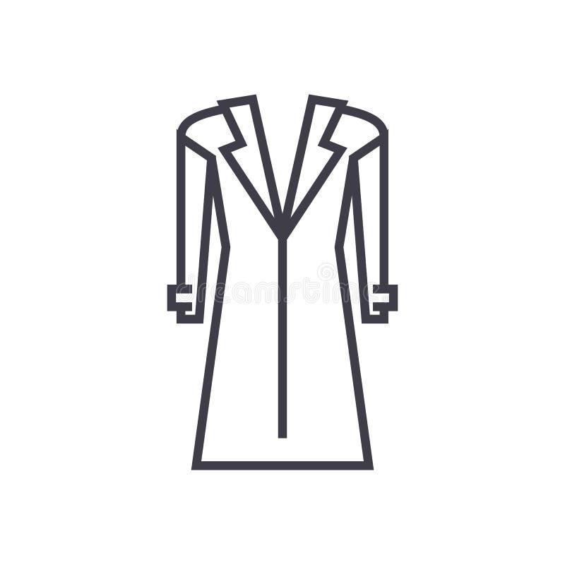 Παλτό, topcoat διανυσματικό εικονίδιο γραμμών, σημάδι, απεικόνιση στο υπόβαθρο, editable κτυπήματα ελεύθερη απεικόνιση δικαιώματος