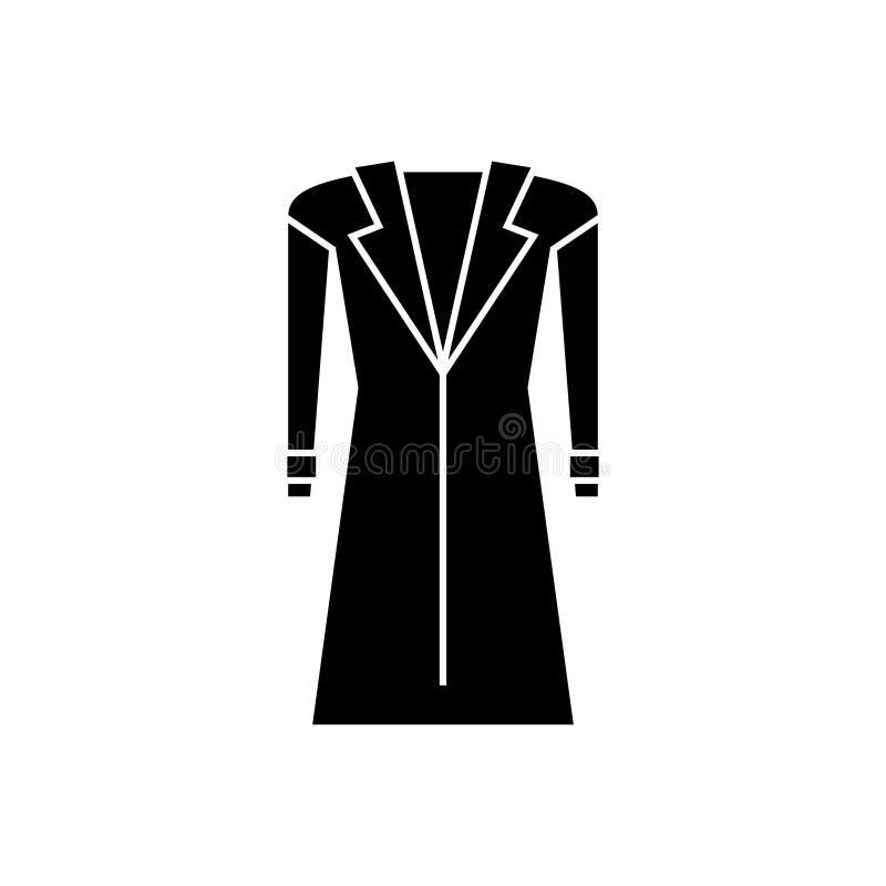 Παλτό - topcoat εικονίδιο, διανυσματική απεικόνιση, μαύρο σημάδι στο απομονωμένο υπόβαθρο ελεύθερη απεικόνιση δικαιώματος