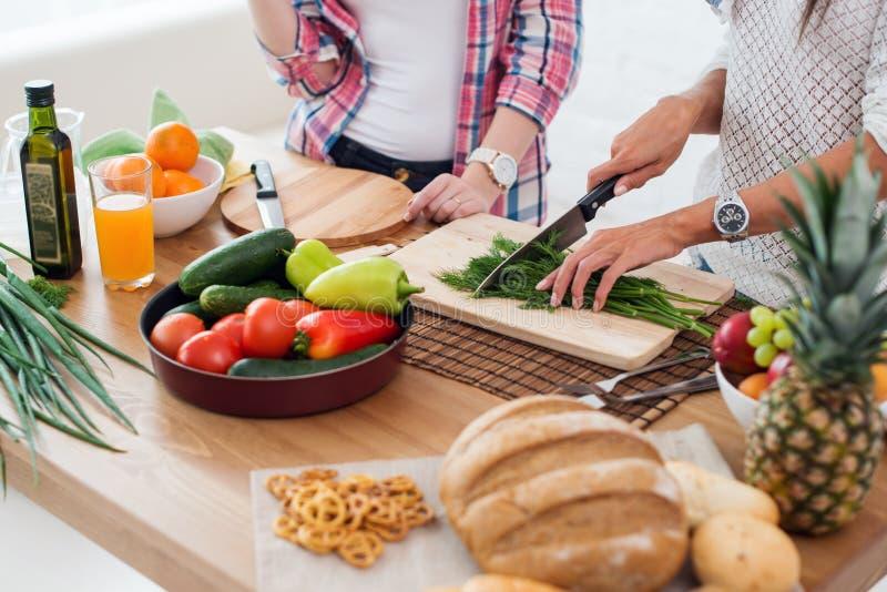 Πανέμορφες νέες γυναίκες που προετοιμάζουν το γεύμα σε μια κουζίνα στοκ εικόνες