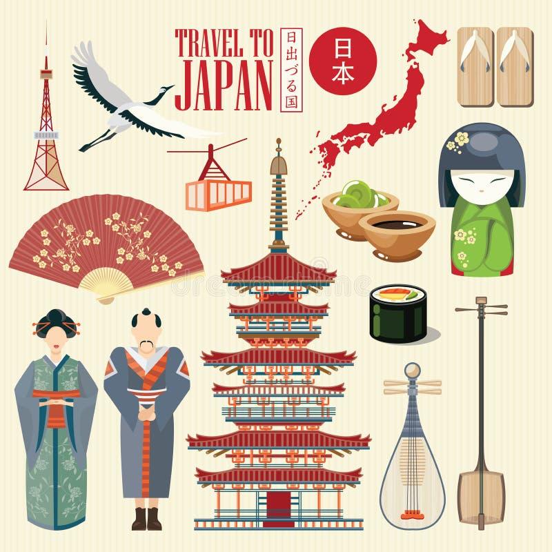 Πανέμορφη αφίσα ταξιδιού της Ιαπωνίας icons japanese απεικόνιση αποθεμάτων