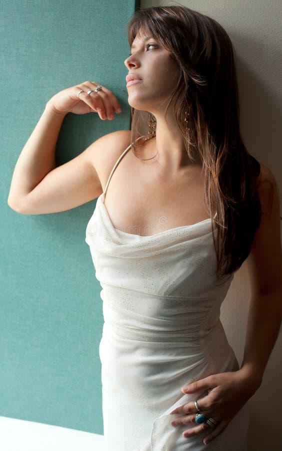 Πανέμορφη γυναίκα στο φανταχτερό φόρεμα στοκ εικόνες με δικαίωμα ελεύθερης χρήσης