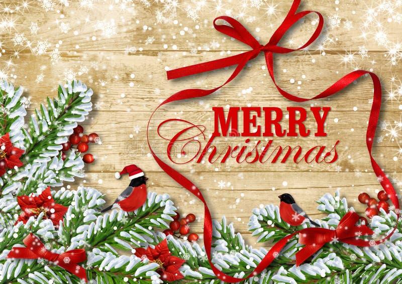 Πανέμορφη κάρτα Χριστουγέννων. Bullfinches στους κλάδους χιονιού. για το congr απεικόνιση αποθεμάτων