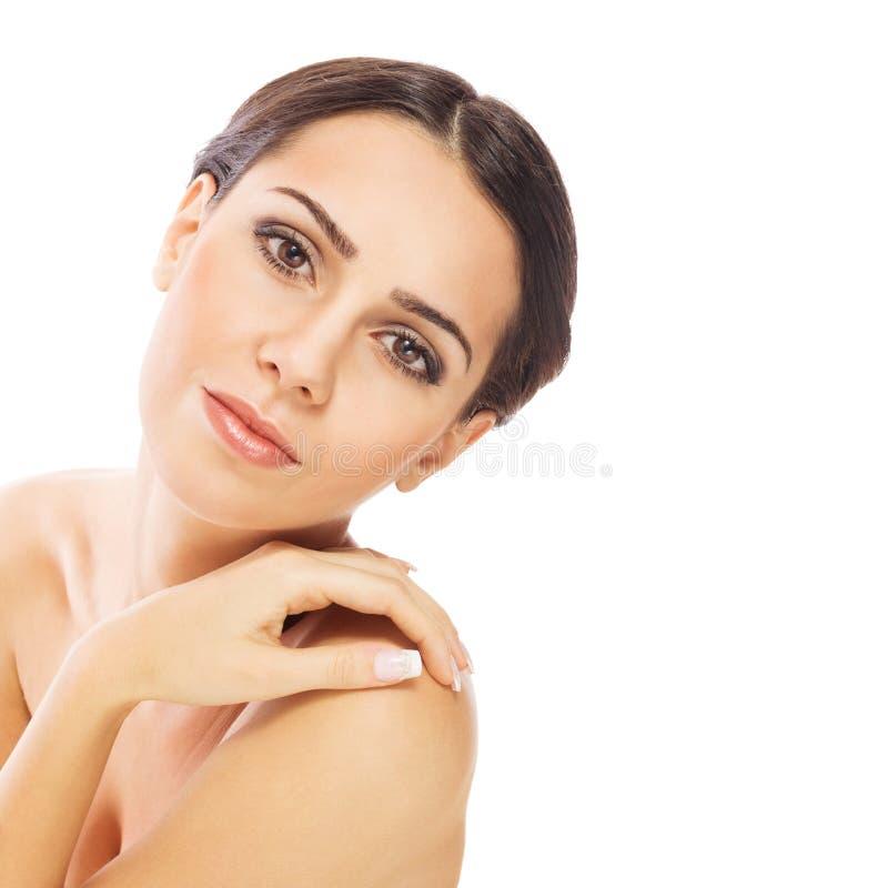 Πανέμορφη νέα γυναίκα με το φυσικό makeup στοκ φωτογραφία