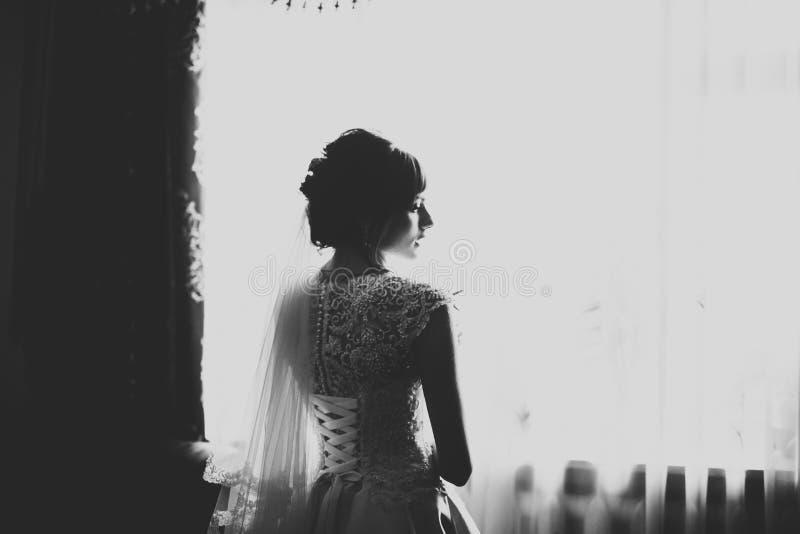 Πανέμορφη νύφη στην τήβεννο που θέτει και που προετοιμάζεται για το πρόσωπο γαμήλιας τελετής σε ένα δωμάτιο στοκ εικόνα