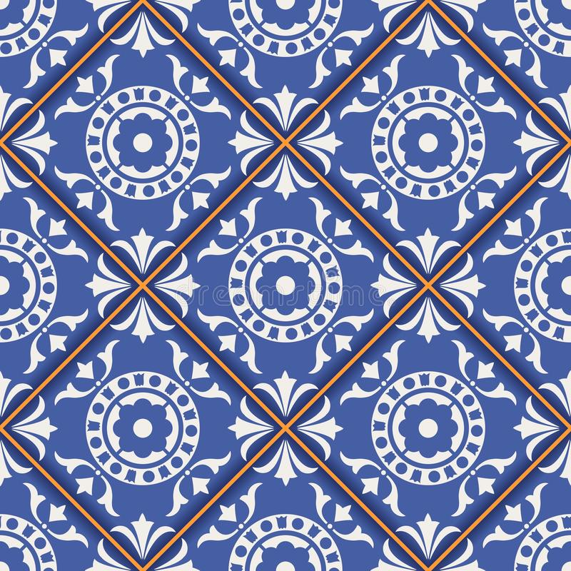 Πανέμορφο άνευ ραφής σχέδιο από τα σκούρο μπλε και άσπρα μαροκινά, πορτογαλικά κεραμίδια, Azulejo, διακοσμήσεις διανυσματική απεικόνιση