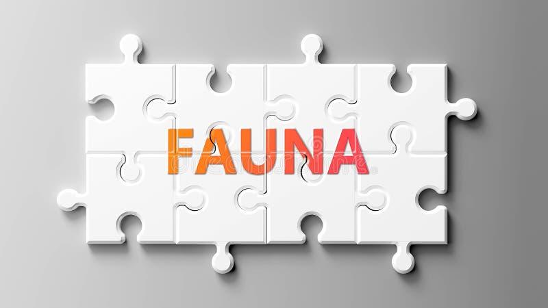 Πανίδα όπως ένα παζλ - που απεικονίζεται ως λέξη Πανίδα σε κομμάτια παζλ για να δείξει ότι η Πανίδα μπορεί να είναι δύσκολη και χ ελεύθερη απεικόνιση δικαιώματος