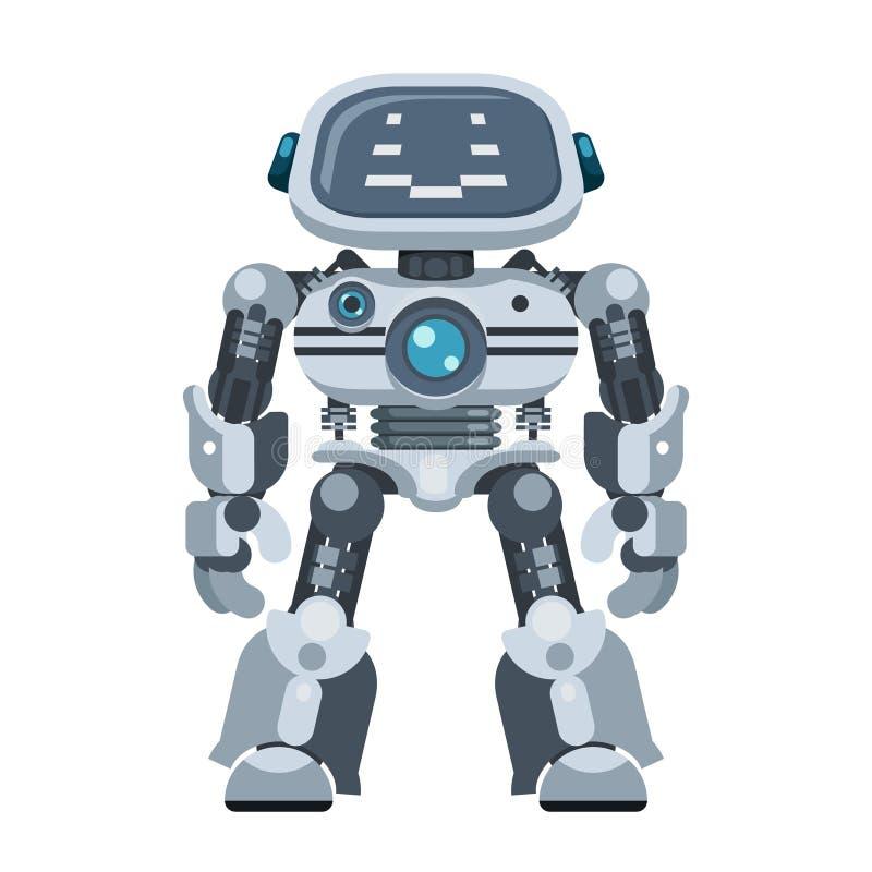 Πανίσχυρη ανδροειδής ρομπότ ηλεκτρονική απεικόνιση επίπεδου διανύσματος τεχνητής ηλεκτρονικής ευφυΐας απεικόνιση αποθεμάτων
