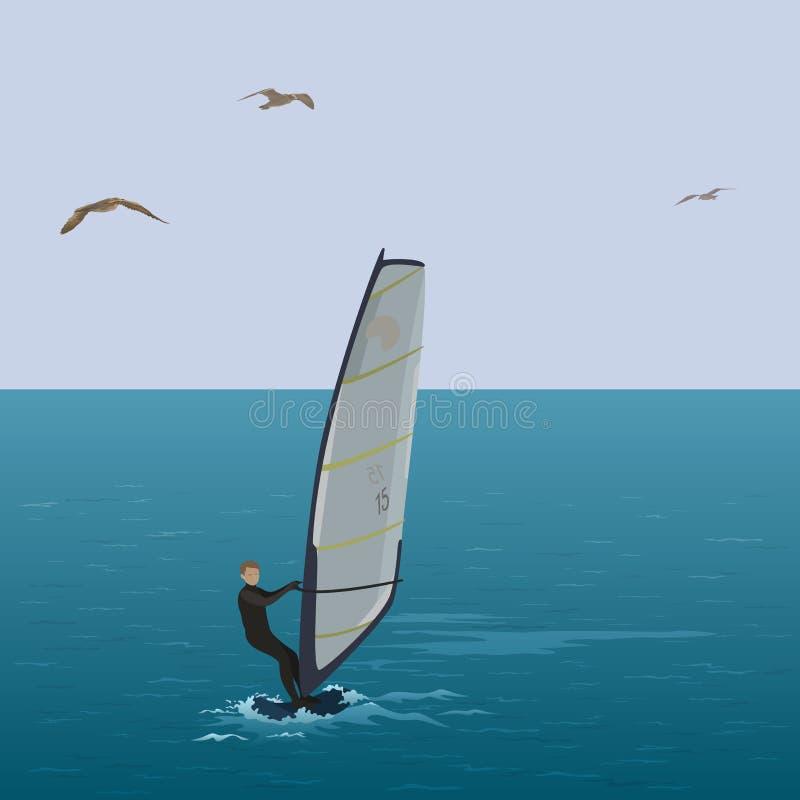 Πανί αθλητικών τύπων surfer στην μπλε θάλασσα διανυσματική απεικόνιση