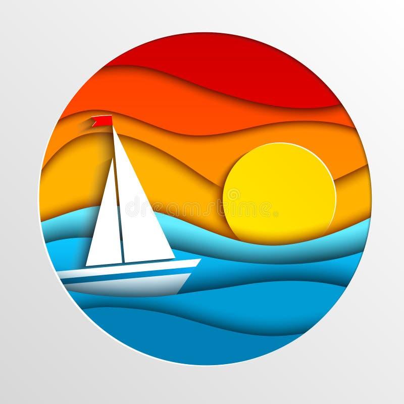 Πανί στη θάλασσα στο ηλιοβασίλεμα απεικόνιση αποθεμάτων