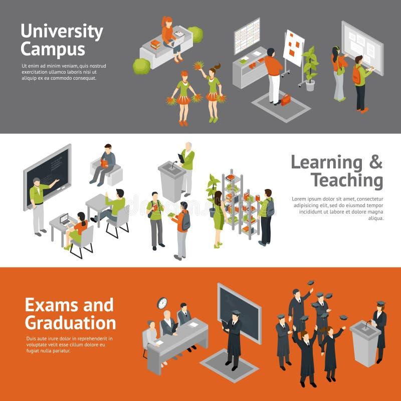 Πανεπιστημιακά Isometric εμβλήματα κολλεγίου ελεύθερη απεικόνιση δικαιώματος