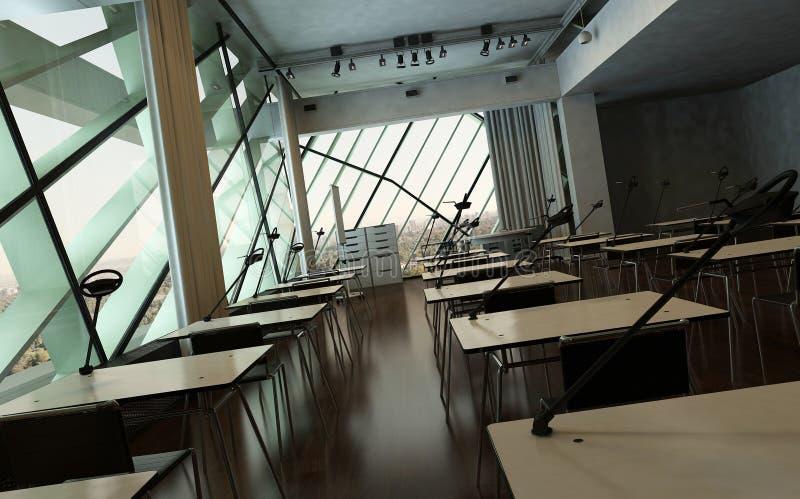 Πανεπιστημιακές εσωτερικό/αίθουσα συνδιαλέξεων σύγχρονου σχεδίου ελεύθερη απεικόνιση δικαιώματος