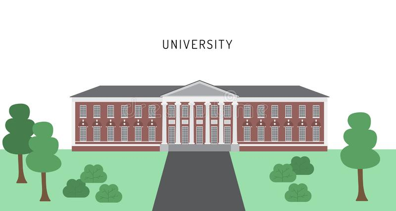 Πανεπιστημιακό κτήριο σε ένα επίπεδο διάνυσμα ύφους απεικόνιση αποθεμάτων