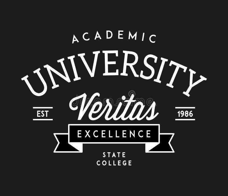 Πανεπιστημιακό λευκό τελειότητας veritas στο Μαύρο διανυσματική απεικόνιση