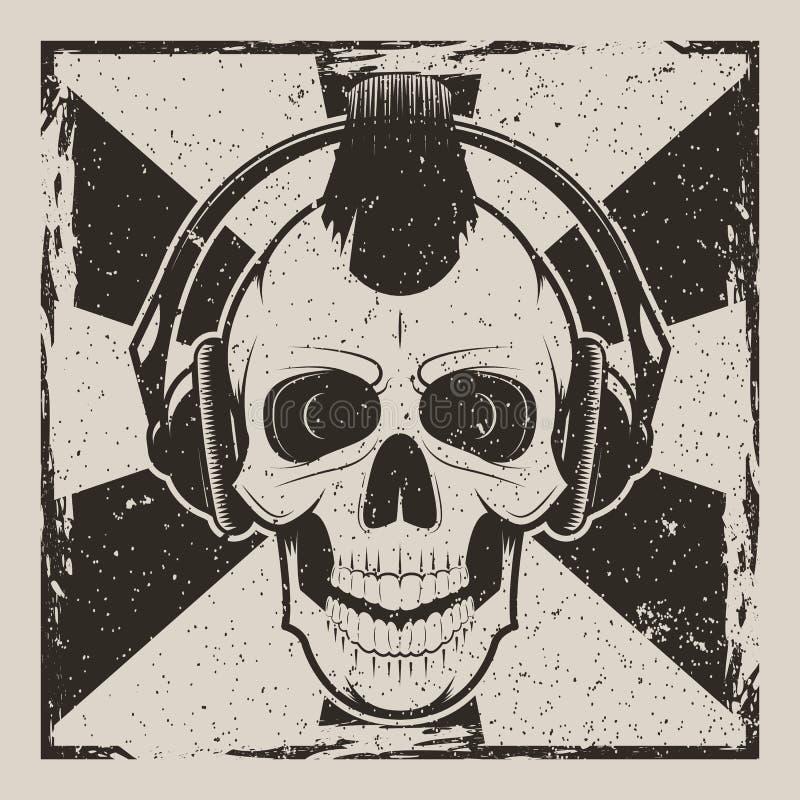 Πανκ διανυσματικό εκλεκτής ποιότητας σχέδιο grunge μουσικής κρανίων διανυσματική απεικόνιση