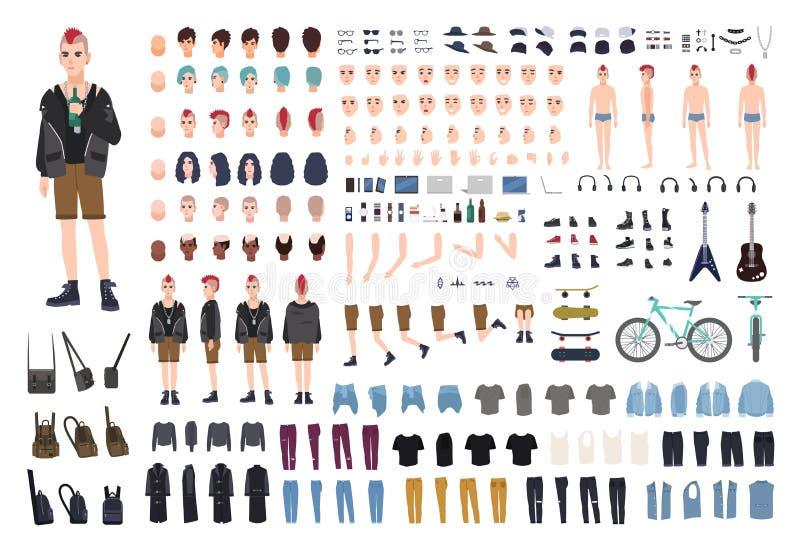 Πανκ εξάρτηση DIY ή κατασκευαστών Σύνολο νέων αρσενικών μελών του σώματος χαρακτήρα ή εφήβων, συγκινήσεις, στάσεις, εξάρτηση, υπο ελεύθερη απεικόνιση δικαιώματος