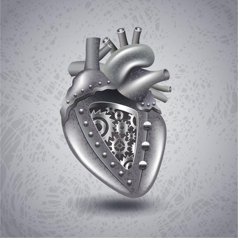 Πανκ καρδιά μετάλλων ατμού με τα εργαλεία ελεύθερη απεικόνιση δικαιώματος