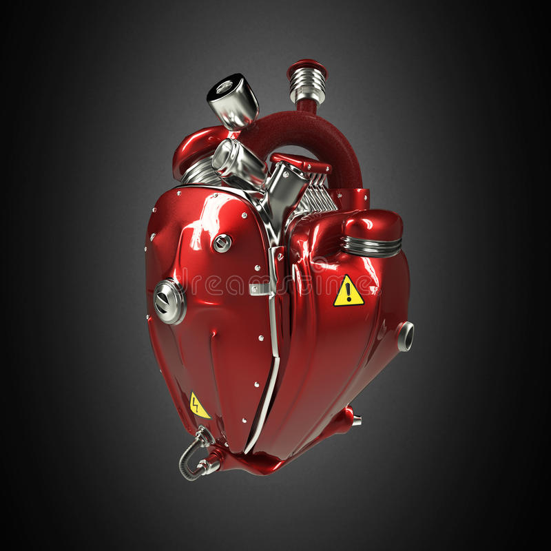 Πανκ καρδιά techno ρομπότ diesel η μηχανή με τους σωλήνες, θερμαντικά σώματα και σχολιάζει τα κόκκινα μέρη κουκουλών μετάλλων απο στοκ εικόνες