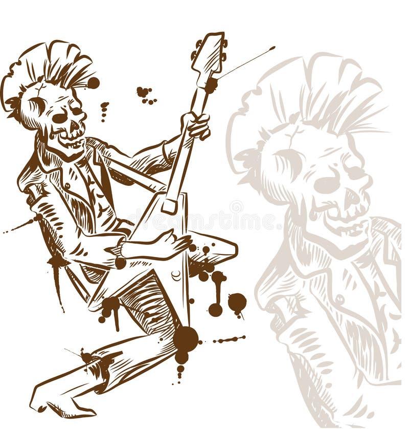 Πανκ κιθαρίστας βράχου ελεύθερη απεικόνιση δικαιώματος