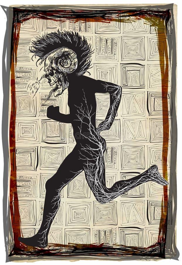 Πανκ τρεξίματος, τρέξιμο - μια συρμένη χέρι διανυσματική, ελεύθερη σκιαγράφηση απεικόνιση αποθεμάτων