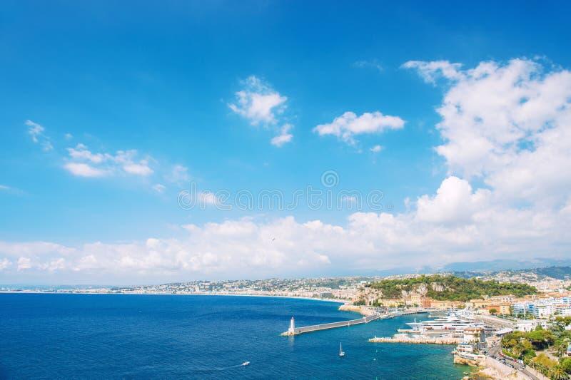 Πανοραμική άποψης της Νίκαιας Μεσόγειος της Γαλλίας riviera πόλεων γαλλική στοκ φωτογραφία με δικαίωμα ελεύθερης χρήσης