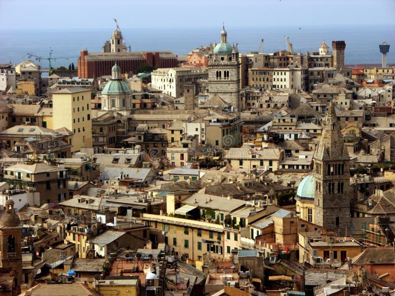 Πανοραμική άποψη από το βουνό στη Γένοβα, Ιταλία στοκ εικόνα με δικαίωμα ελεύθερης χρήσης
