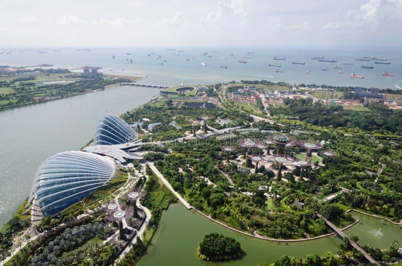 Πανοραμική άποψη από το ιπτάμενο της Σιγκαπούρης, Σιγκαπούρη, Ασία στοκ εικόνες