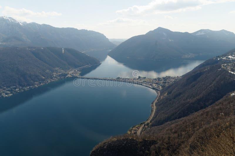 Πανοραμική άποψη από το SAN Salvatore στο Λουγκάνο, Ελβετία στοκ φωτογραφία με δικαίωμα ελεύθερης χρήσης