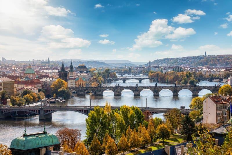 Πανοραμική άποψη για την πόλη της Πράγας, Τσεχική Δημοκρατία στοκ φωτογραφίες με δικαίωμα ελεύθερης χρήσης