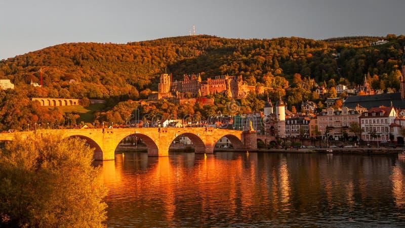 Πανοραμική άποψη κατά τη διάρκεια του κόκκινου ηλιοβασιλέματος στην παλαιά γέφυρα, κεντρικός και το CAS στοκ εικόνα με δικαίωμα ελεύθερης χρήσης