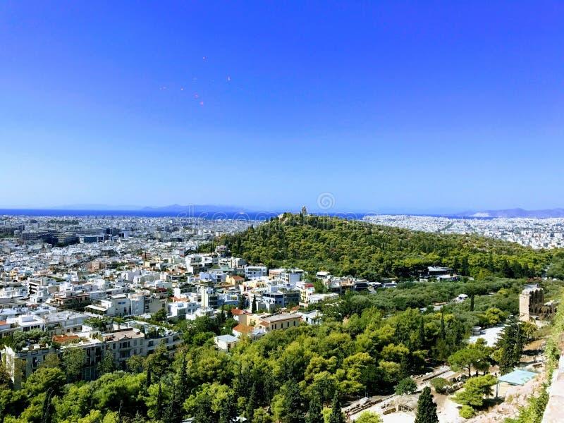 Πανοραμική άποψη πέρα από την Αθήνα, Ελλάδα στοκ εικόνες με δικαίωμα ελεύθερης χρήσης