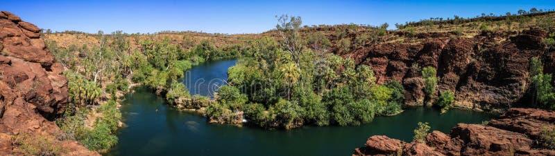 Πανοραμική άποψη πέρα από το φαράγγι Hill χορτοταπήτων, εθνικό πάρκο Hill χορτοταπήτων Boodjamulla, τρόπος σαβανών, Queensland, Α στοκ εικόνα με δικαίωμα ελεύθερης χρήσης