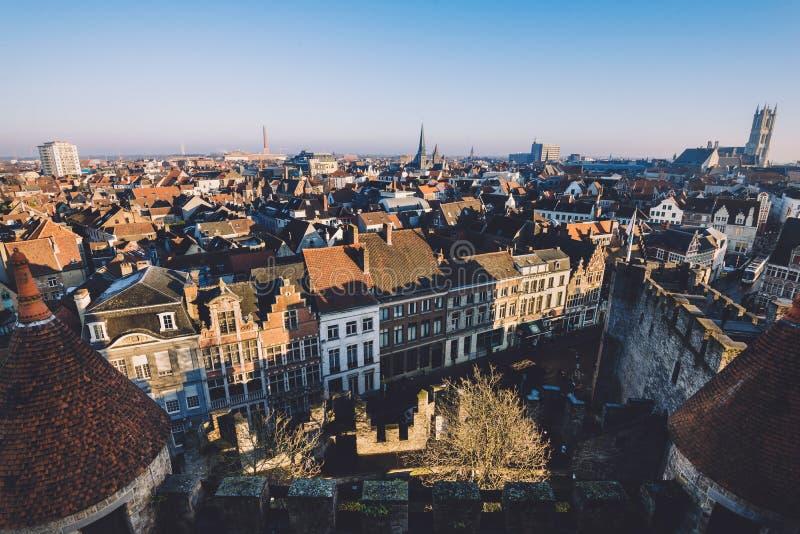Πανοραμική άποψη πόλεων της Γάνδης στοκ εικόνες