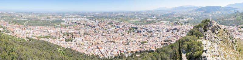 Πανοραμική άποψη πόλεων του Jae'n από Santa Catalina Castle, Ισπανία στοκ εικόνες με δικαίωμα ελεύθερης χρήσης