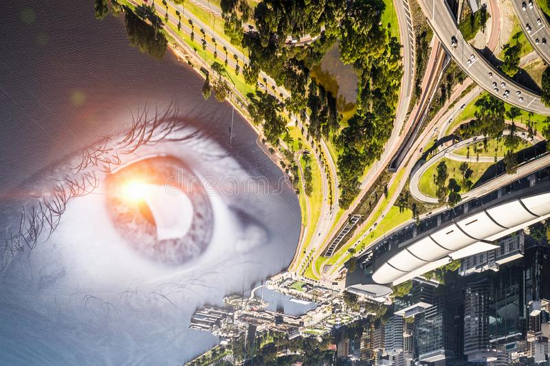 Πανοραμική άποψη πόλεων στοκ φωτογραφίες