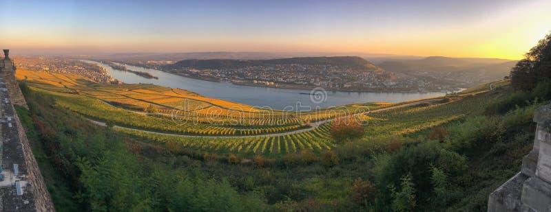Πανοραμική άποψη σε Rheingau, Bingen και Rheinhessen στοκ φωτογραφία με δικαίωμα ελεύθερης χρήσης