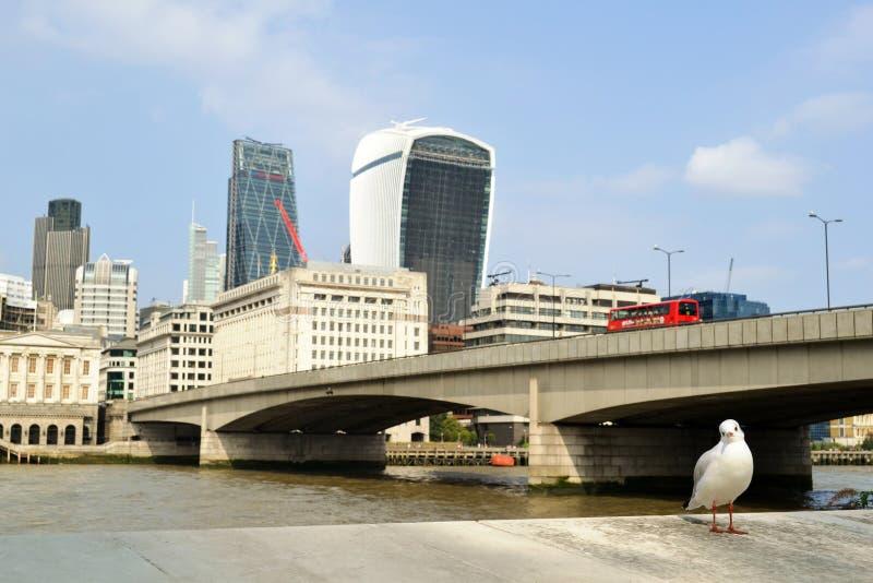 Πανοραμική άποψη στο μάτι του Λονδίνου, τον ποταμό του Τάμεση και την πόλη του Λονδίνου στο ηλιόλουστο ηλιοβασίλεμα στοκ εικόνες