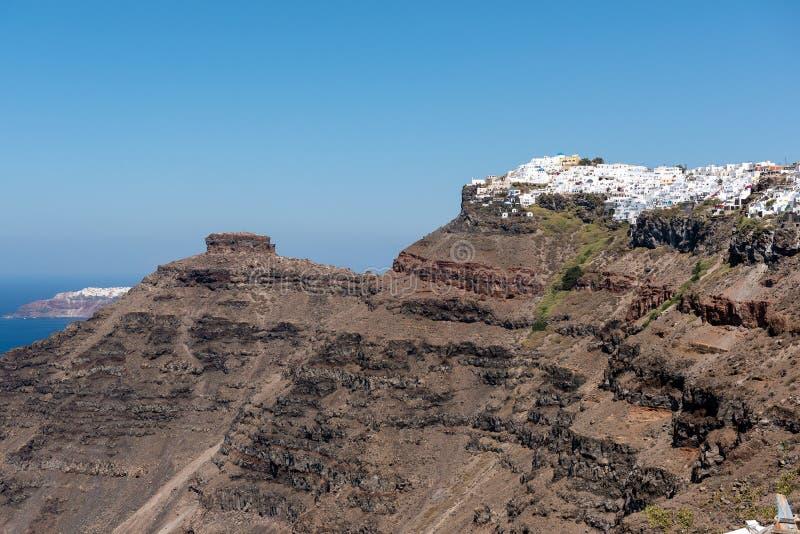 Πανοραμική άποψη σχετικά με ηφαιστειακό caldera του νησιού Santorini, Ελλάδα στοκ φωτογραφία με δικαίωμα ελεύθερης χρήσης
