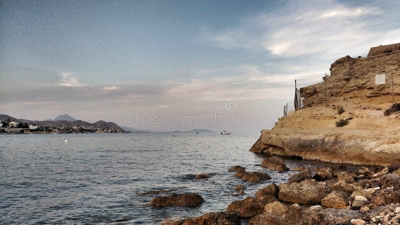 Πανοραμική άποψη της ακτής του San Juan, Αλικάντε στοκ φωτογραφία