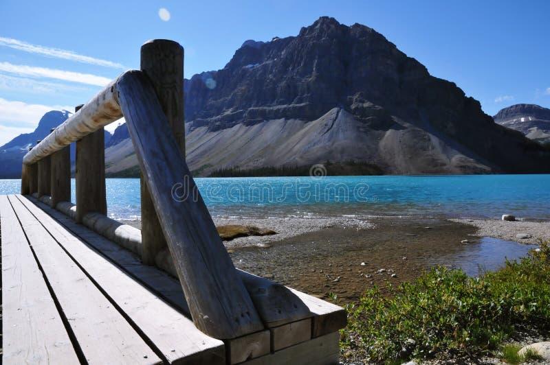 Πανοραμική άποψη της λίμνης και των βουνών τόξων στο εθνικό πάρκο ιασπίδων, Καναδάς στοκ φωτογραφία
