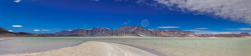 Πανοραμική άποψη της λιμνοθάλασσας Salar de talar από SAN Pedro de Atacama στοκ φωτογραφία με δικαίωμα ελεύθερης χρήσης