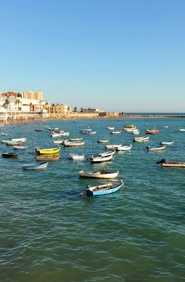 Πανοραμική άποψη της παραλίας Λα Caleta, Κόστα ντε λα Λουθ, Καντίζ, Ανδαλουσία, Ισπανία στοκ φωτογραφία με δικαίωμα ελεύθερης χρήσης