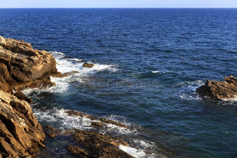 Πανοραμική άποψη της περιοχής ακτών Nervi της Γένοβας, κεφάλαιο Ligu στοκ εικόνες